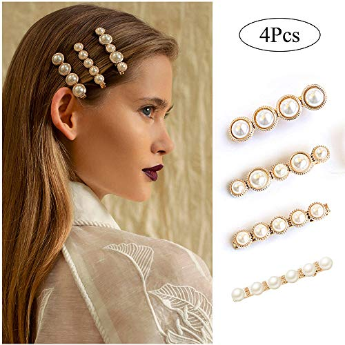 Large Professional Hair Clips for Women Girls Gold Decorative Bobby Pins Fashion Cute Hair Barrettes Accessories Auto Clasp Hair Pin for Ladies Toddlers Wedding Bridal Faux Pearl Hair Snap Clips Set 4