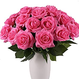 KISMEET Artificial Roses Fake Silk Flowers Real Touch Long Stem for Wedding Party Home Office Outdoor Craft Decoration, Pack of 10 (Pink) 103