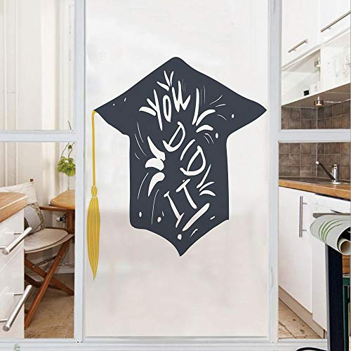 Decorative Window Film,No Glue Frosted Privacy Film,Stained Glass Door Film,You Did It Typography Floral Design Mortarboard with Tassel Decorative,for Home & Office,23.6In. by 47.2In Dark Blue White - Bronze Mortar
