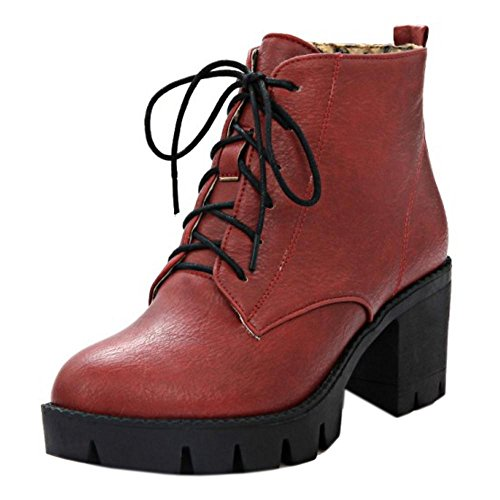 Chunky Zipper Bootie Women's Side TAOFFEN Red 5qaF4Ww