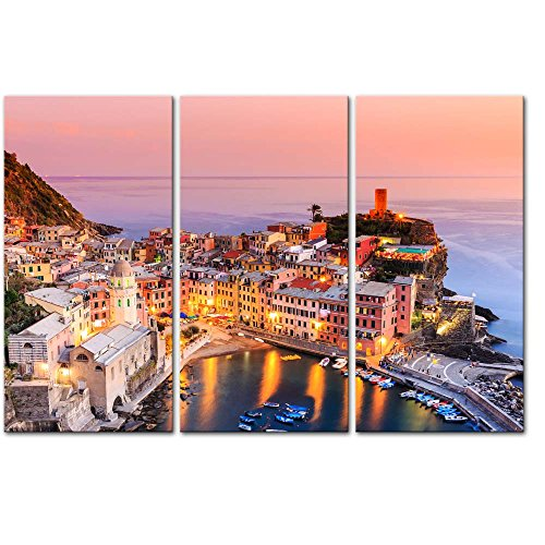 3 Pieces Modern Canvas Painting Wall Art The Picture For Home Decoration Vernazza Village Cinque Terre National Park Sunset Italy Bay Seascape Print On Canvas Giclee Artwork For Wall Decor