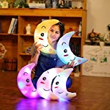 Supper Cute Light Up Smiling Moon Throw Pillow Cushion Plush Stuffed Toys - Sparkling Moon Plush Toy with 7 Colors Change LED Lighting (White, 35 X 15cm)