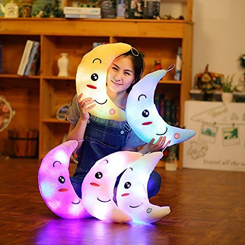 Supper Cute Light Up Smiling Moon Throw Pillow Cushion Plush Stuffed Toys - Sparkling Moon Plush Toy with 7 Colors Change LED Lighting (Blue, 35 X 15cm)
