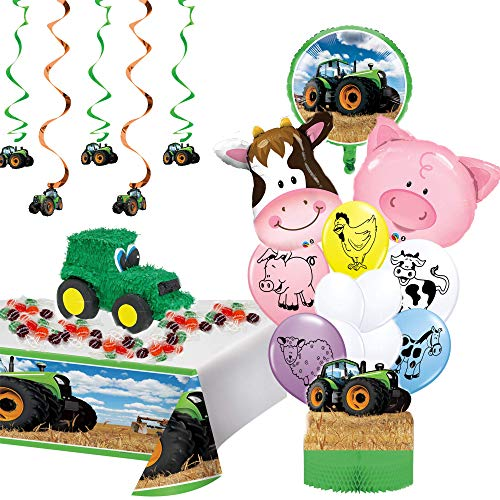 Filled Tractor Pinata with Farmhouse and Tractor Party Supplies | 23 pcs Kit Birthday Party bundle with Printable Tractor/Farm Birthday Invitations, Picture Frame, Birthday Checklist, and Games ideas | Style 2
