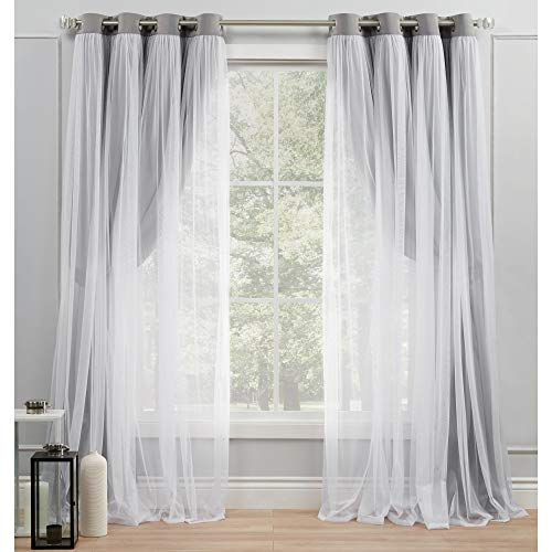 Exclusive Home Curtains Catarina Layered Solid Blackout and Sheer Grommet Top Curtain Panel Pair, 52x84, Soft Grey