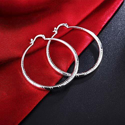 (Women Fashion 925 Sterling Solid Silver Ear Stud Hoop Earrings Wedding Jewelry(1.18 inch))