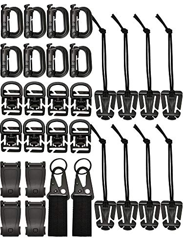 Zhanmai 30 Pieces Tactical Molle Attachments Tactical Bag Clip Strap Set for Tactical Backpack Molle Bag, 5 Styles (Style 1)