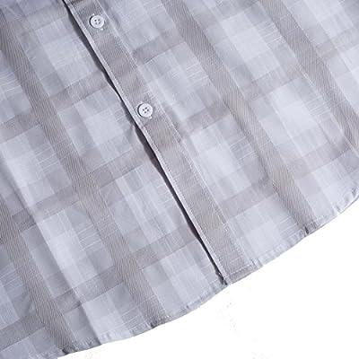 Hanmor Men's Casual Cotton Short Sleeve Plaid Western Button Down Dress Shirts