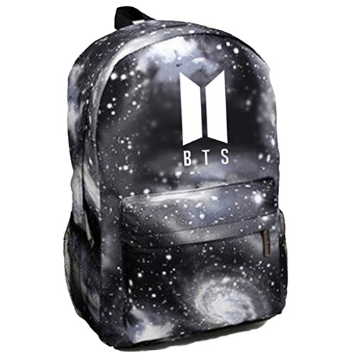 Price comparison product image Kpop BTS Backpack Bangtan Boys Starry Sky Satchel Schoolbag Casual Daypack Laptop Bags (Grey)