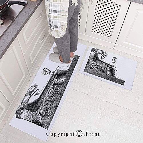 Kitchen Rugs Set 2 Piece Non-Slip Kitchen Mats and Rugs Runner Set,Ancient Antique Era Egypt Pharaoh King Pose with a Bird Hawk Sketch Image Rubber Backing Floor Rug Doormat Machine Washable 15.7