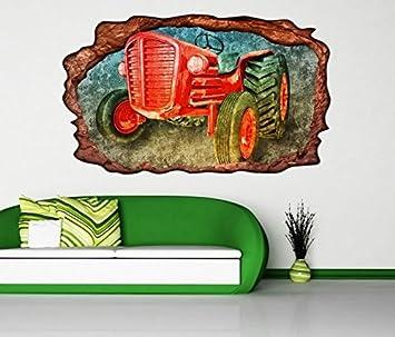 3d Wandtattoo Traktor Auto Fahrzeug Bauer Selbstklebend Wandbild