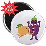 CafePress - Emoji Peach Eggplant Kiss - 2.25'' Magnet (100 pack)