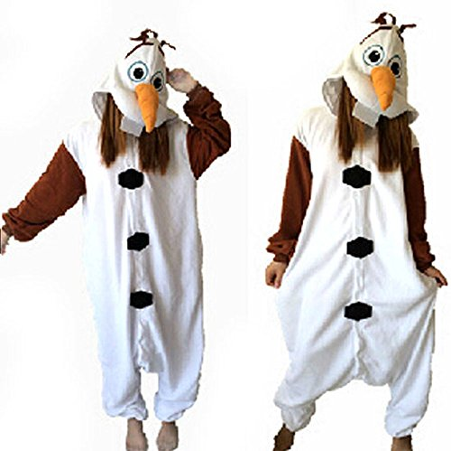 8024 - Frozen Snowman Olaf Unisex Pyjama Pajama Cosplay Costume (M) (Olaf Costumes For Women)