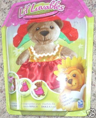 Lil Luvables Fluffy Factory Bear Wear Red Flower Outfit