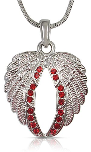 Guardian Angel Wings Pendant Necklace Jewelry Gifts Girls, Teens and Women, Sympathy, Remembrance, Memorial Condolence Gifts, Mothers Day, Easter Religious Jewelry Gifts, Biker Jewelry (Red)