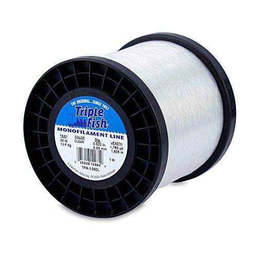Triple Fish Mono Line, 30 lb (13.6 kg) test, .022 in (0.55 mm) diam, Clear, 1 lb (0.45 kg) Spool, 1760 yd (1609 (30lb Test 1 Lb Spool)