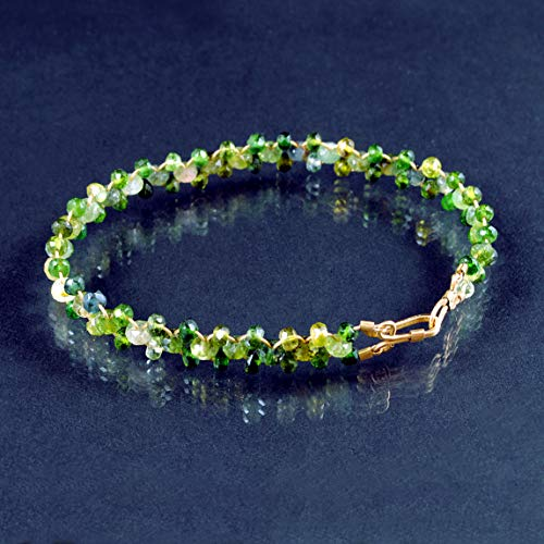- Green Tourmaline Bracelet Artisan Handcrafted in 14K Gold Filled; One of a Kind