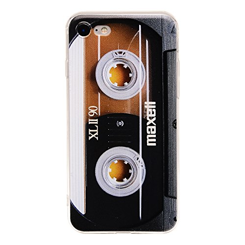 Cover Case Cassette - TNCY Bumper Soft TPU Music Cassette Tape Retro 80's Type Amazing Back Cover Phone Case Compatible with iPhone 7 iPhone 8 4.7 inch