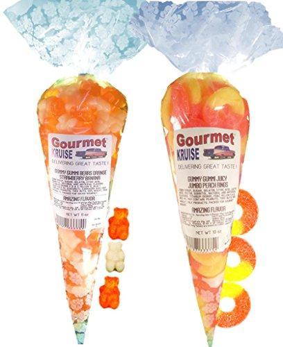 Energy Orange White Strawberry Banana Gummy Gummi Bears And Juicy Jumbo Peach Rings (NET WT 21 OZ) Gourmet Kruise Signature Gift Bags