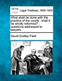 img - for What shall be done with the practice of the courts: shall it be wholly reformed? : questions addressed to lawyers. book / textbook / text book