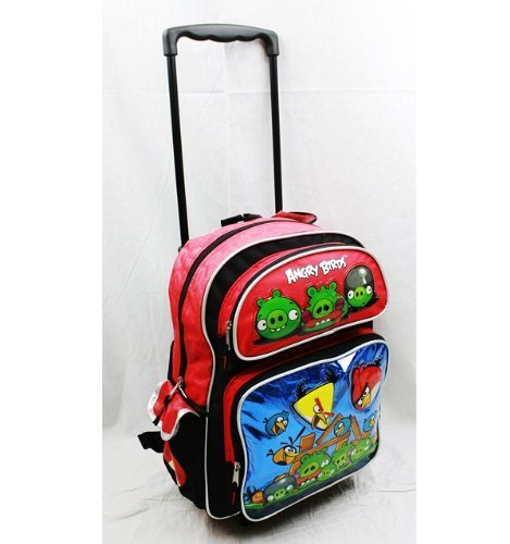 """Angry Birds Large 16"""" Rolling Backpack - Metallic Blue wi..."""