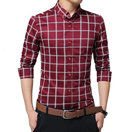 Slim Fit Dress Shirts for Men 100% Cotton Long Sleeve Plaid Formal Casual (L, Wine Red - Shirt Dress Cuff French Grid