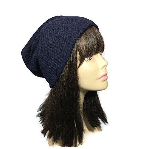 e66a44075 Amazon.com: Navy Rib Knit Slouchy Beanie Navy Blue Slouchy Hat ...