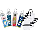 Cruise Luggage Tag Holder Zip Seal & Steel - Royal Caribbean & Celebrity Cruise (8 Pack + 4 ID Holders)