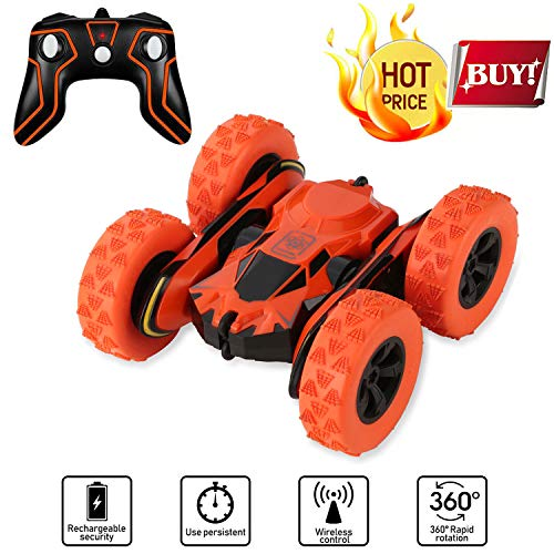 SZJJX Stunt RC Car, 2.4Ghz Double Sided Tumbling Remote Control Vehicle, 3D Deformation, Radio Controlled Off-Road Truck (Orange) - Controlled Radio Car Games