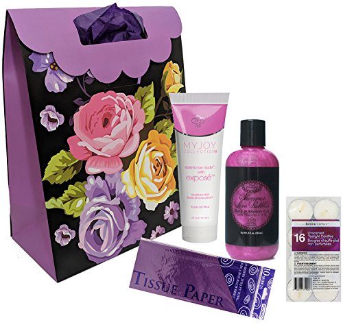 Bubble Bath Set with Shea Moisture Shave Cream for Women with Purple Gift Bag, Tissue and Tea Light Candles Bundle