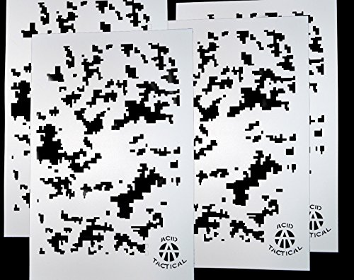 AcidTactical 4 Pack - 9x14 Camouflage Airbrush Spray Paint Stencils - Duracoat Cerakote Gun (Digital Camo x4)