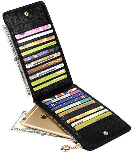 YALUXE Women's Genuine Leather Multi Card Organizer Wallet with Zipper Pocket Black -