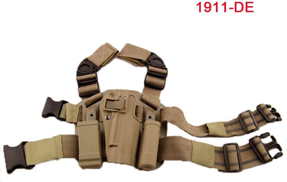 H World EU pistolera para la pierna derecha con soporte para linterna Holsters y Colt 1911M1911.