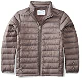 Amazon Essentials Boys' Lightweight Water-Resistant Packable Puffer Jacket, Grey Flannel, Medium