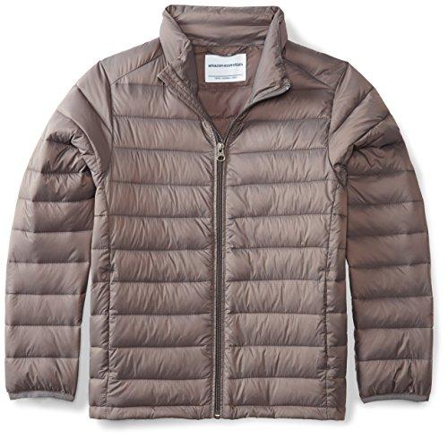Amazon Essentials Boys' Lightweight Water-Resistant Packable Puffer Jacket, Grey Flannel, Medium
