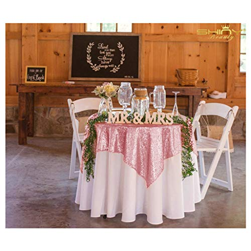 50''x50'' Square Fushia Pink Sequin Tablecloth Select Your Color & Size Can Be Available ! Sequin Overlays, Runners, Gatsby Wedding, Glam Wedding Decor, Vintage Weddings
