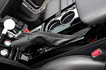 Black leather-Tan thread RedlineGoods ebrake boot compatible with Ford Mustang 2005-09