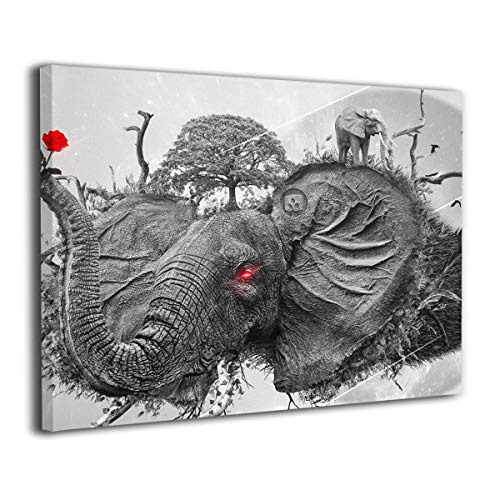 Henry Huxley Wall Art Painting Picture for Living Room Couch Home Bedroom Decoration Elephant Red Rose Modern Framed Artwork 16x20in
