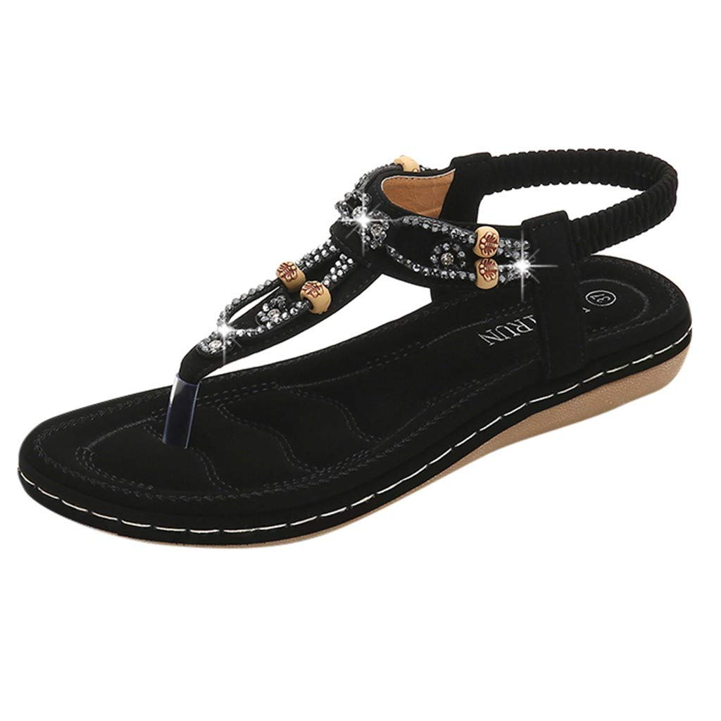 Claystyle Women's Flat Thong Sandals Beach Sandles Casual Rhinestone Sandals (Black,US: 8.5) by Claystyle Sandals