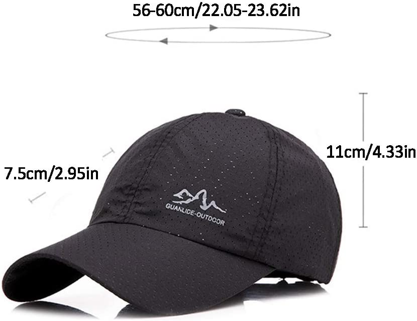 LYDIAMOON Baseball Cap Taslon Quick Drying Solid Color Adjustable Washed Breathable Thin and Light Outdoor Sun Protection Hat Adult