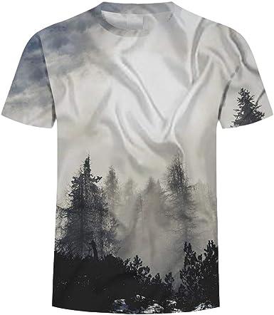 Unisex Camisetas de Manga Corta Casual Hipster Camisas Deportivas Sport Bosque en la Niebla-XL: Amazon.es: Ropa y accesorios