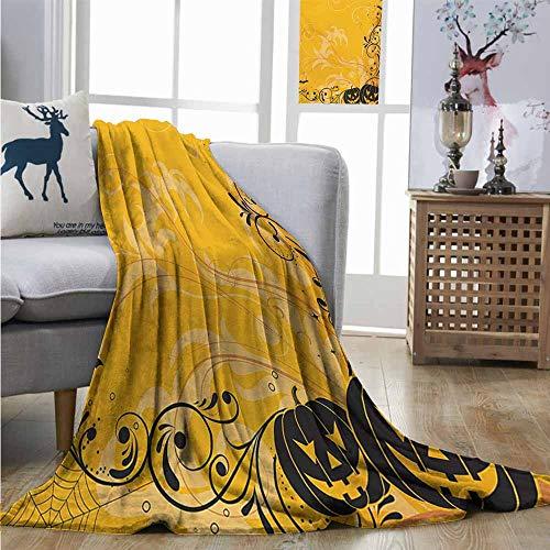 Cozy Blanket Halloween Carved Pumpkins with Floral Patterns Bats and Web Horror Jack o Lantern Artwork Summer Blanket W70 xL84 Orange Black -