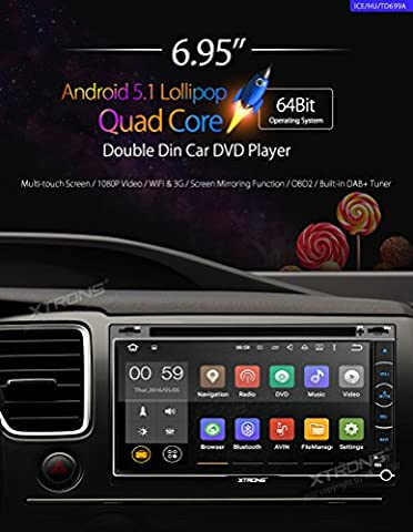 XTRONS Double 2 Din 6.95 inch Android 5.1 Lollipop Quad Core Capacitive Touch Screen Car Stereo Radio In Dash DVD Player GPS Screen Mirroring OBD2 Built-in DAB+ (Dab Car Audio)