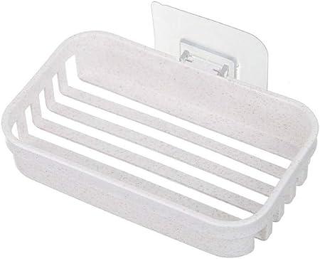 BEI&YANG 2 Piezas Caja De Jabón Jabonera para Colgar En La Pared Baño Plástico Simple Ventosa Drenaje@Beige: Amazon.es: Hogar