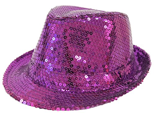 Sequin Covered Fedora / Purple / Red Hat Lady Society Red Hat Purple Sequin