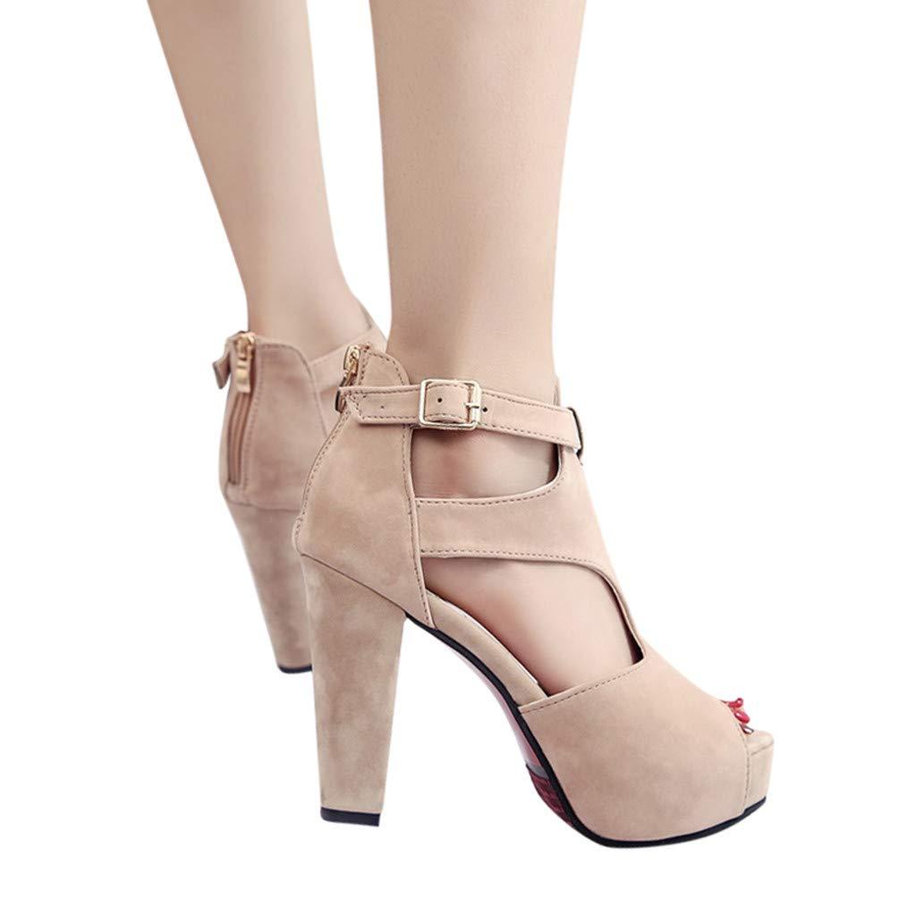 NRUTUP Ladies Platform Pumps Peep Toe Ankle Strap High Heel Sandals Casual Single Shoes