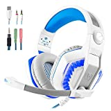 Gaming Headset Surround 3.5mm Stereo Headband Headphone with LED light Volume Control Microphone for Xbox One PS4 Latop PC Mobile Phones (white)