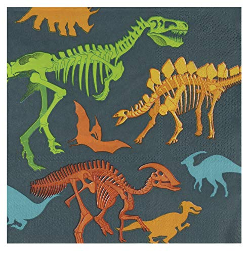 (Dino Napkins - 100-Pack Dinosaur Fossil Skeleton Disposable Paper Napkins, Kids Birthday Dinosaur Party Supplies, Luncheon Size Folded 6.5 x 6.5 Inches)