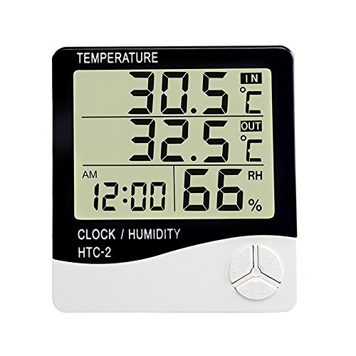 l Thermometer Humidity Temperature Monitor Indoor Outdoor with Alarm Clock (Full Range Digital Thermometer)