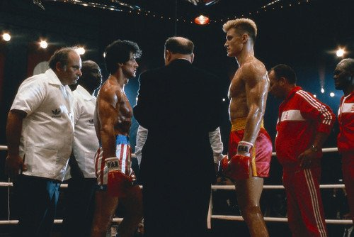 Sylvester Stallone and Dolph Lundgren and Burt Young in Rock